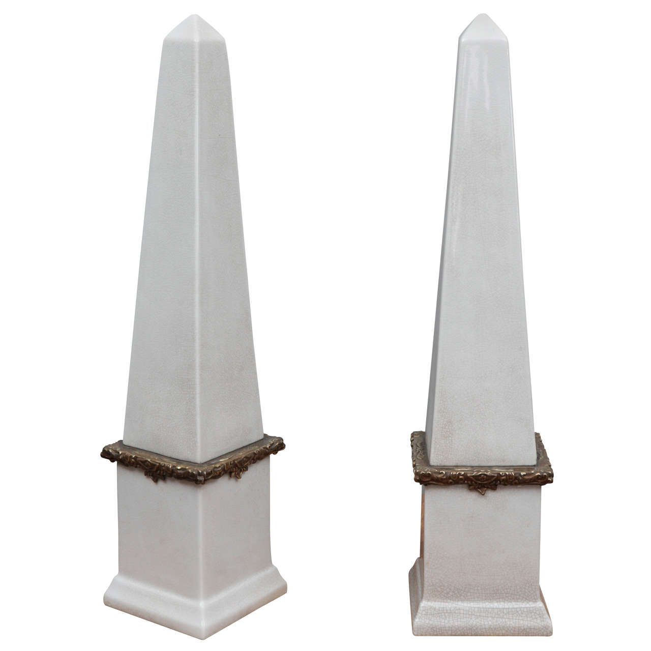 Tall Ceramic Obelisk Statues