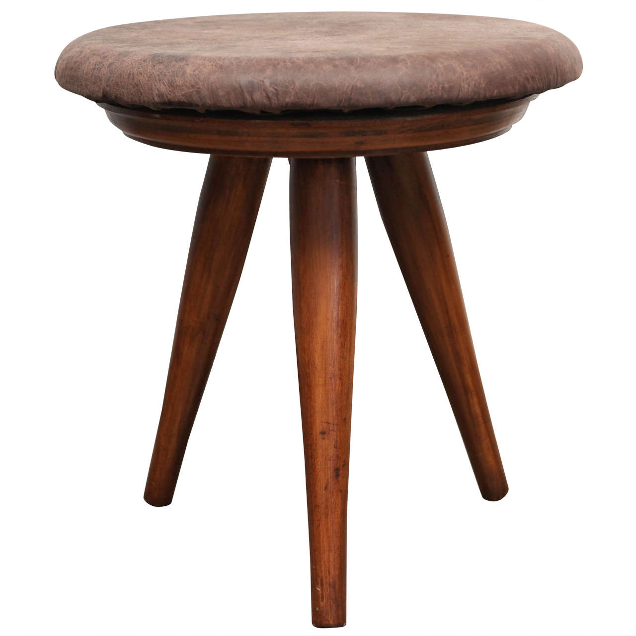 Mid Century Modern Tripod Swivel Stool With Brown Leather
