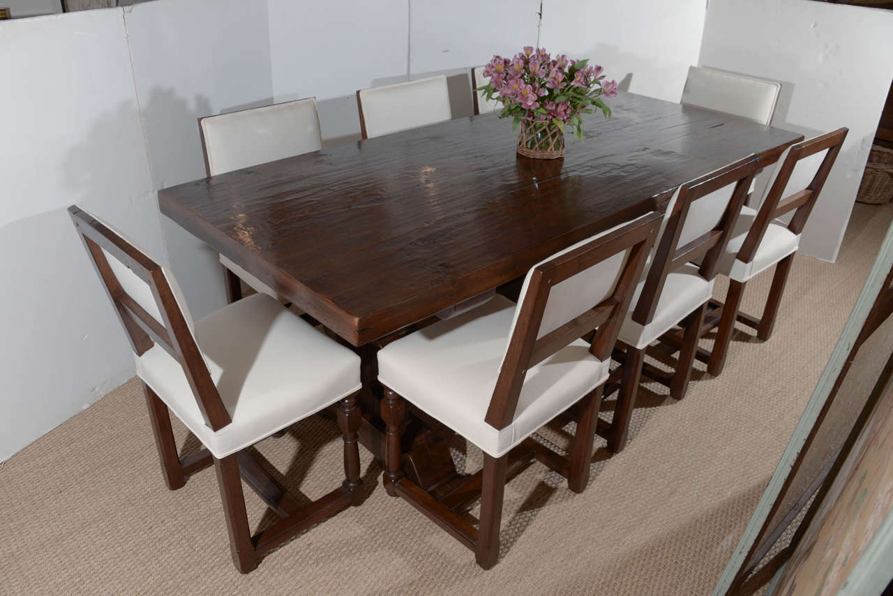 Country Antique Reclaimed French Oak Trestle Dining Table For Sale