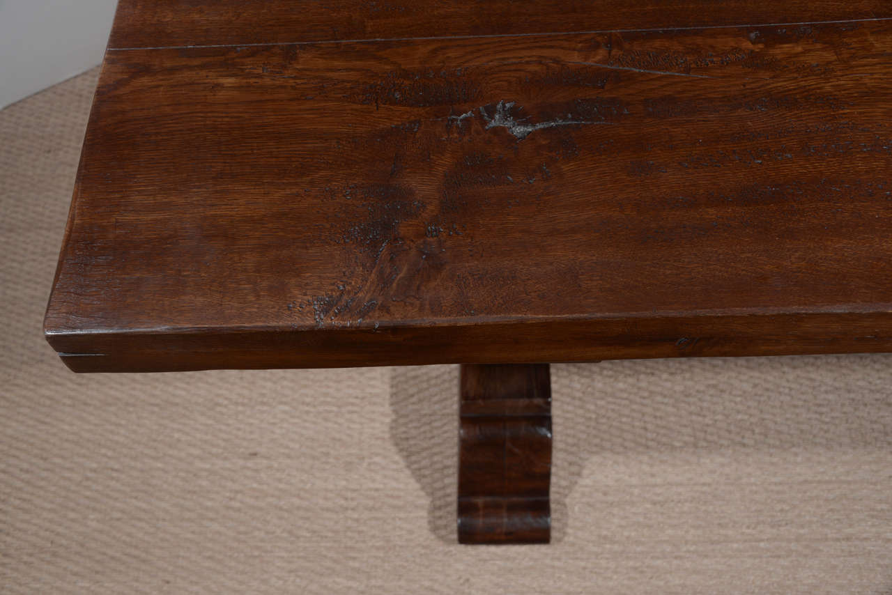 Antique Reclaimed French Oak Trestle Dining Table In Excellent Condition For Sale In Houston, TX
