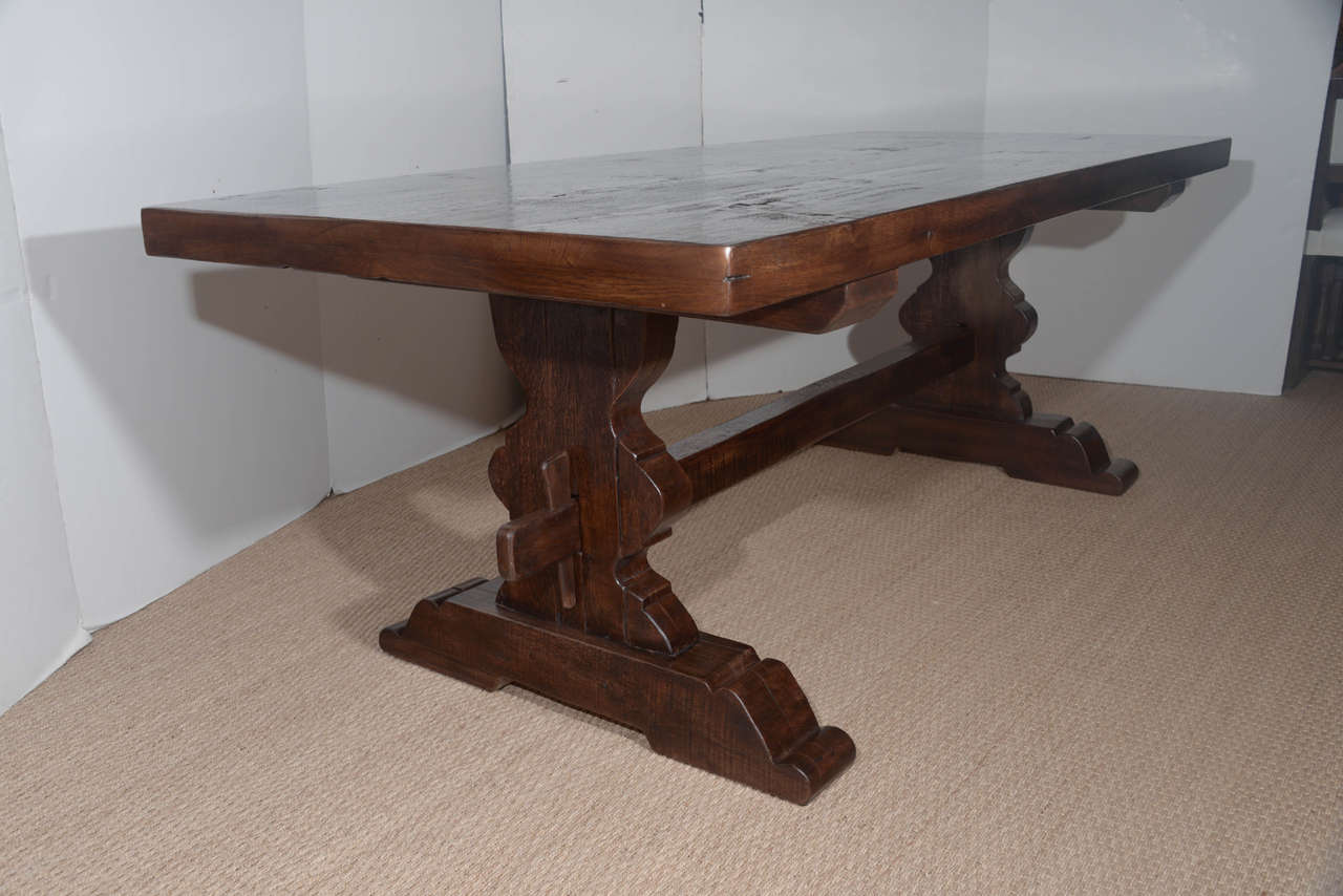19th Century Antique Reclaimed French Oak Trestle Dining Table For Sale