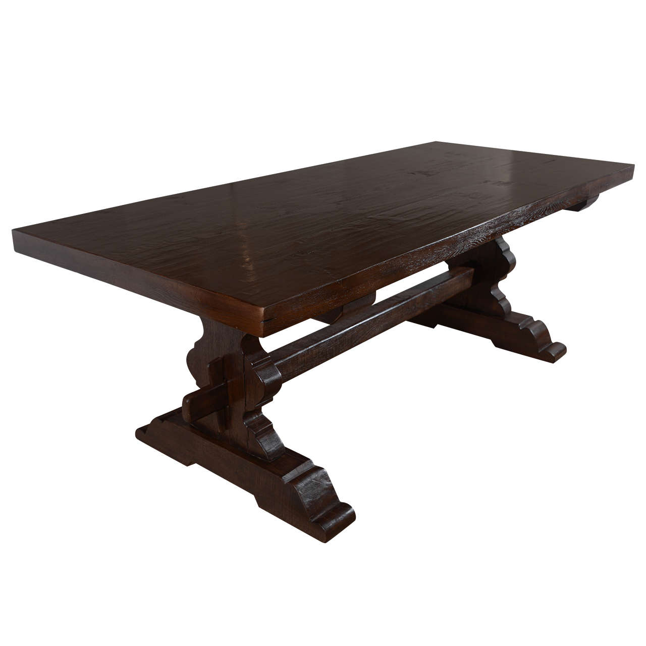 Antique Reclaimed French Oak Trestle Dining Table