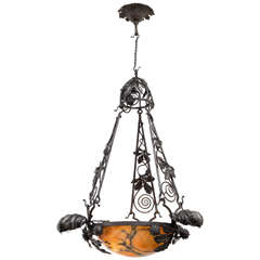 20th Century French Wrought Iron and Alabaster Chandelier