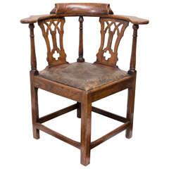 18th c. English Neo Gothic Corner Chair