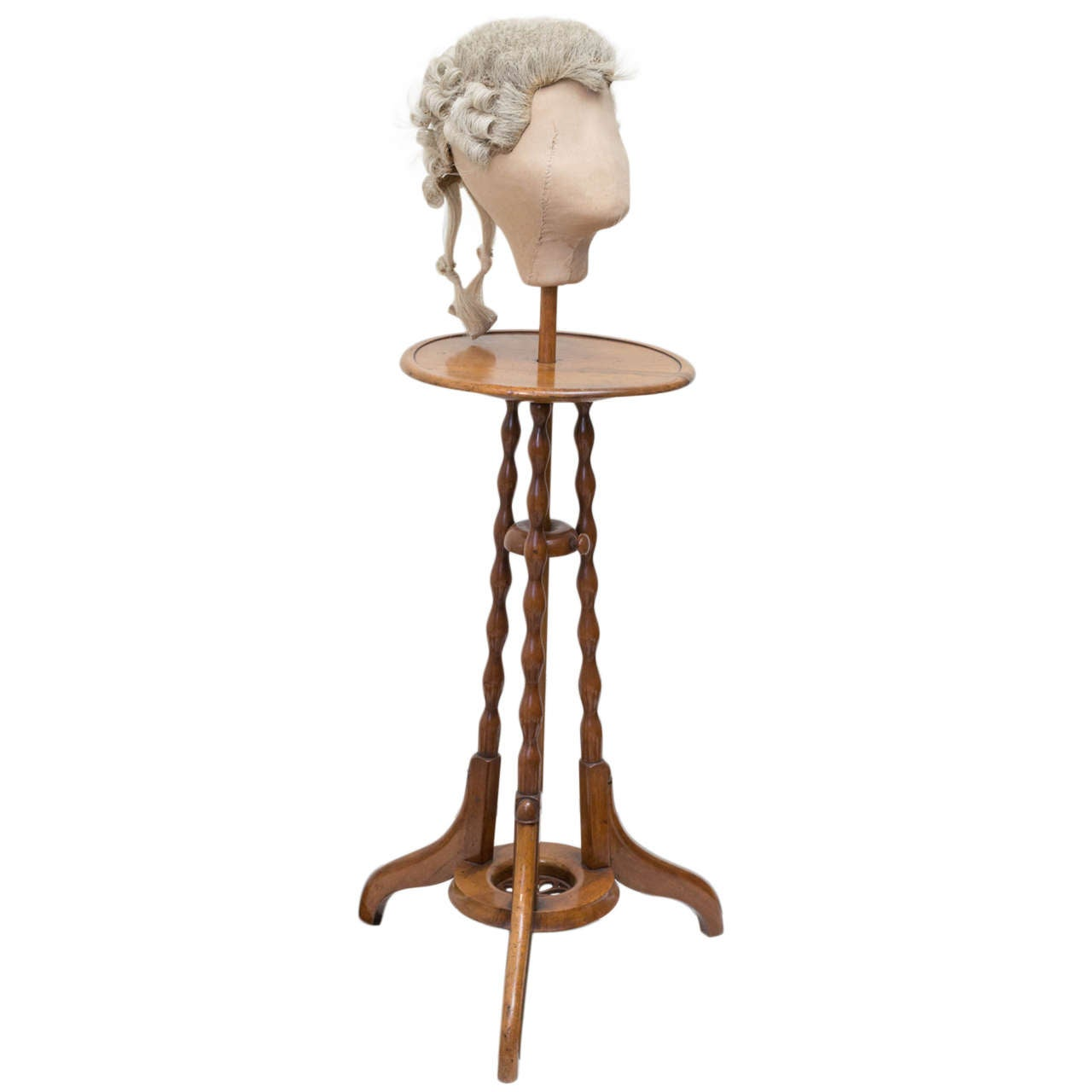19th c. English William IV Wig  Stand With Wig