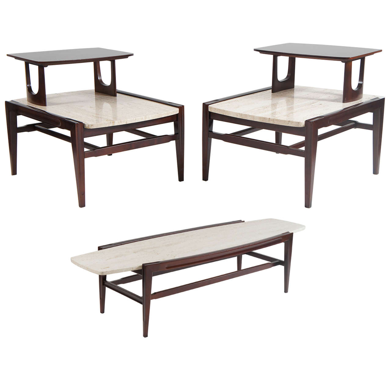 Mid century modern living room set coffee and two end tables at 1stdibs Side table and coffee table set