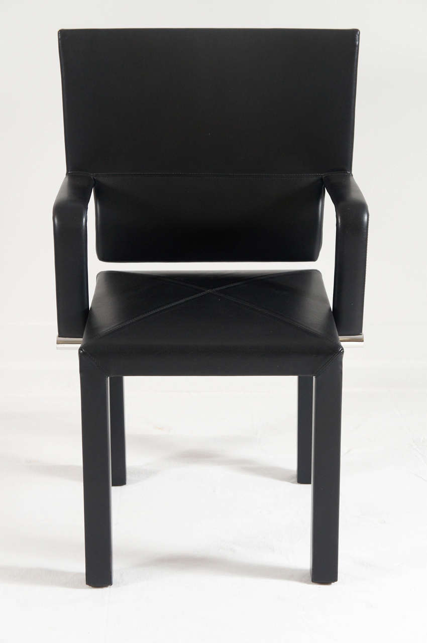 Set Of 8 Leather Dining Chairs By Paolo Piva For B B