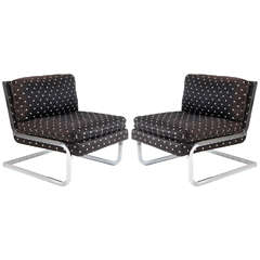 pair of chrome slipper chairs by Pace Collection