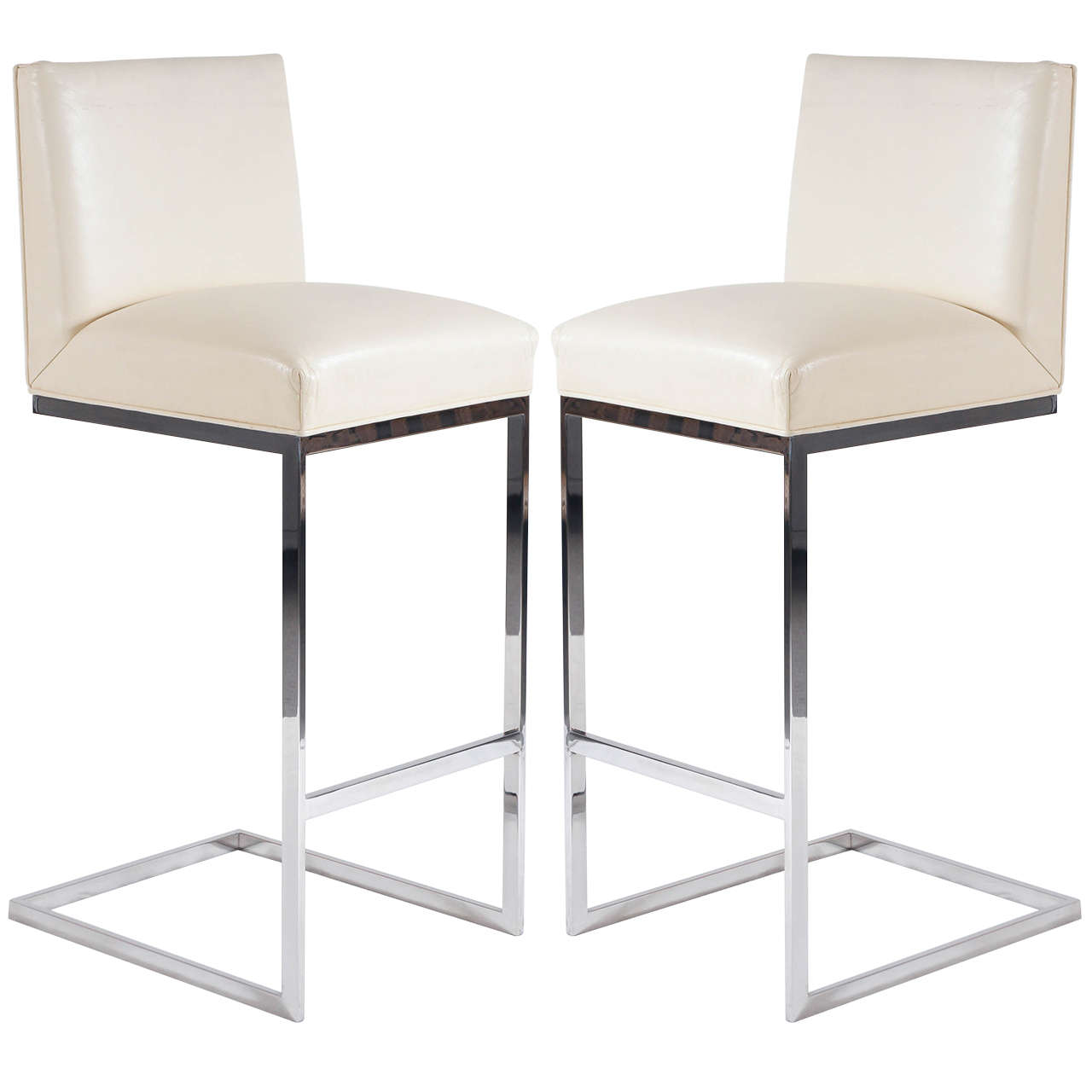 Pair Of Bar Stools In Leather Polished Stainless Steel By Brueton 1