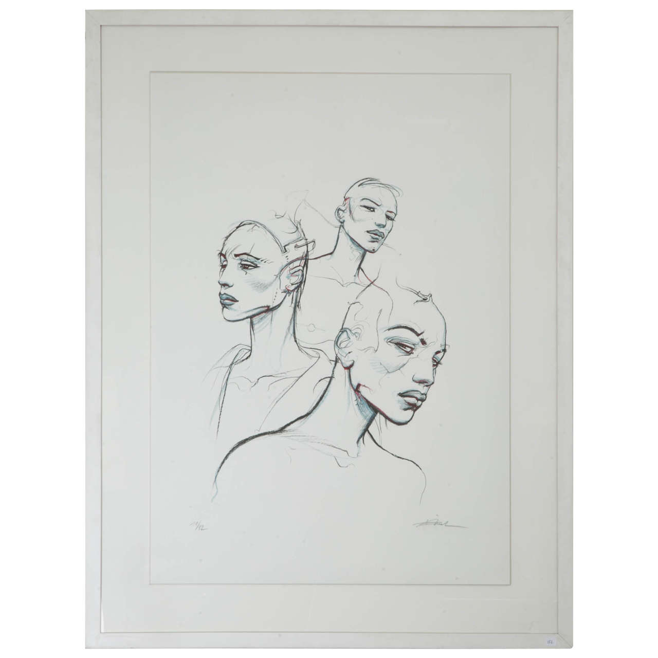 """""""The 3 Sisters"""" Screen Printing No. 11 of 32, Enhanced by Hand by Enki Bilal For Sale"""