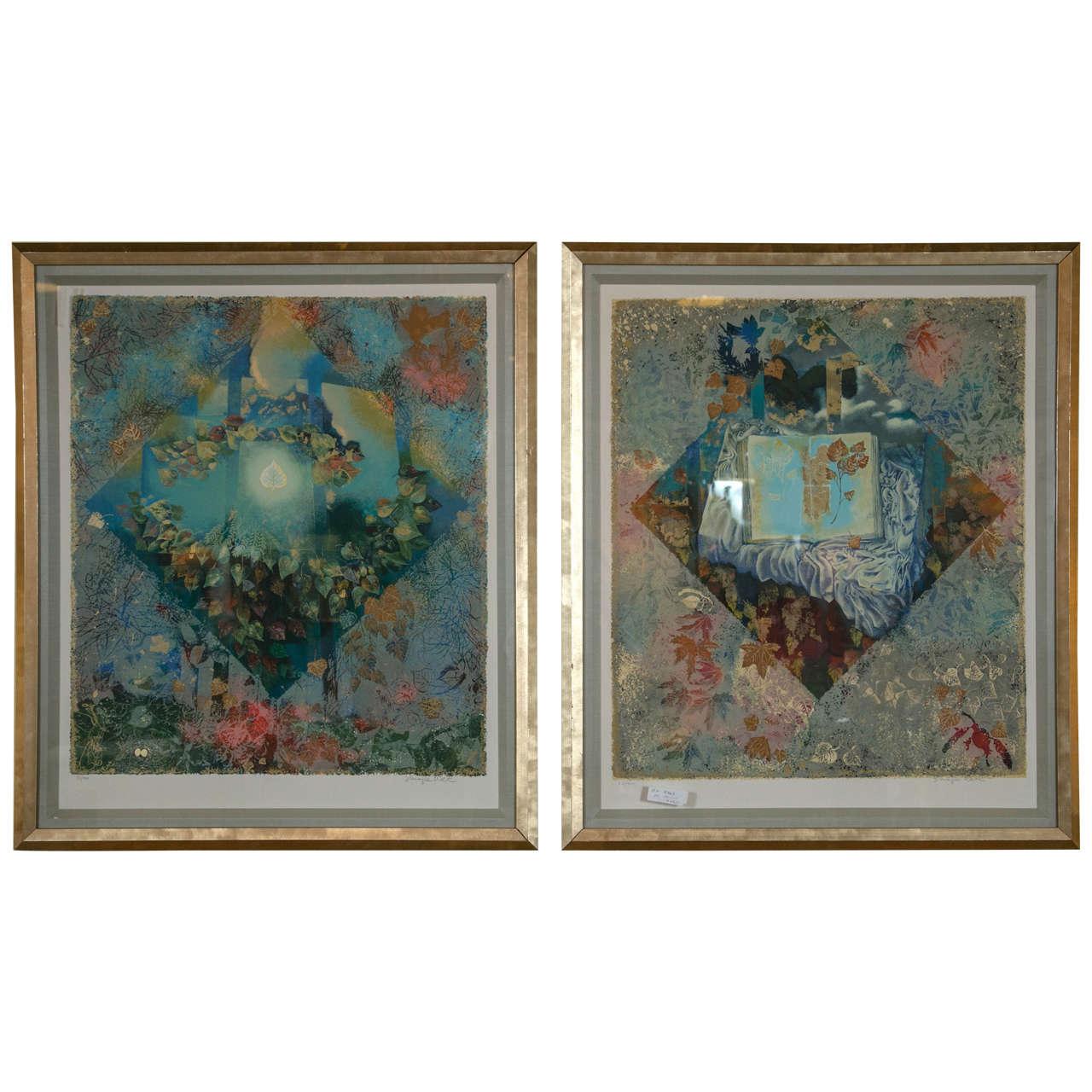 Pair of Framed Serigraphs Signed and Numbered Shraga Weil Hebrew
