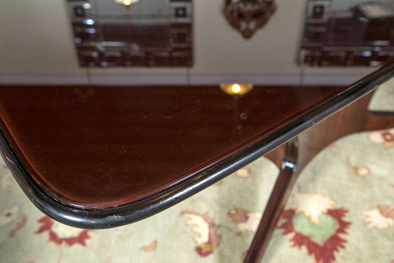 Solid Rosewood Glass Top Dining or Conference Table, style of Borsani In Good Condition For Sale In Stamford, CT