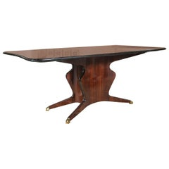 Solid Rosewood Glass Top Dining or Conference Table, style of Borsani
