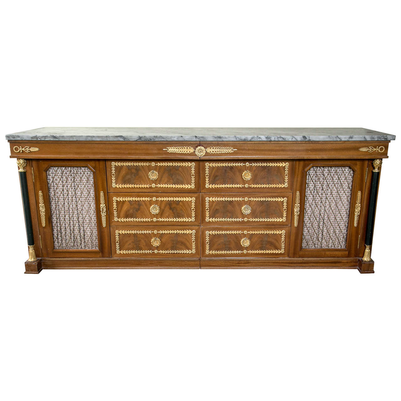 Palatial Empire Style Sideboard or Console Table Finely Bronze Mounted