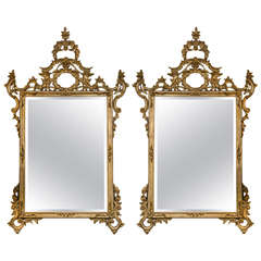 Pair of Rococo Carved and Giltwood Mirrors