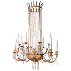 Wonderful Empire Wooden Tin and Crystal Sixteen-Light Chandelier