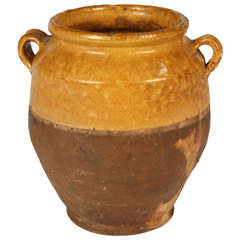 19th Century French Glazed Terracotta Confit Pot