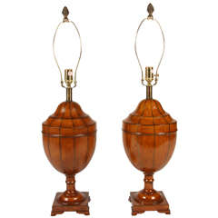 Pair Of George III Style Mahogany Table Lamps