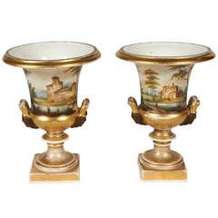 Pair of Porcelain de Paris Urns