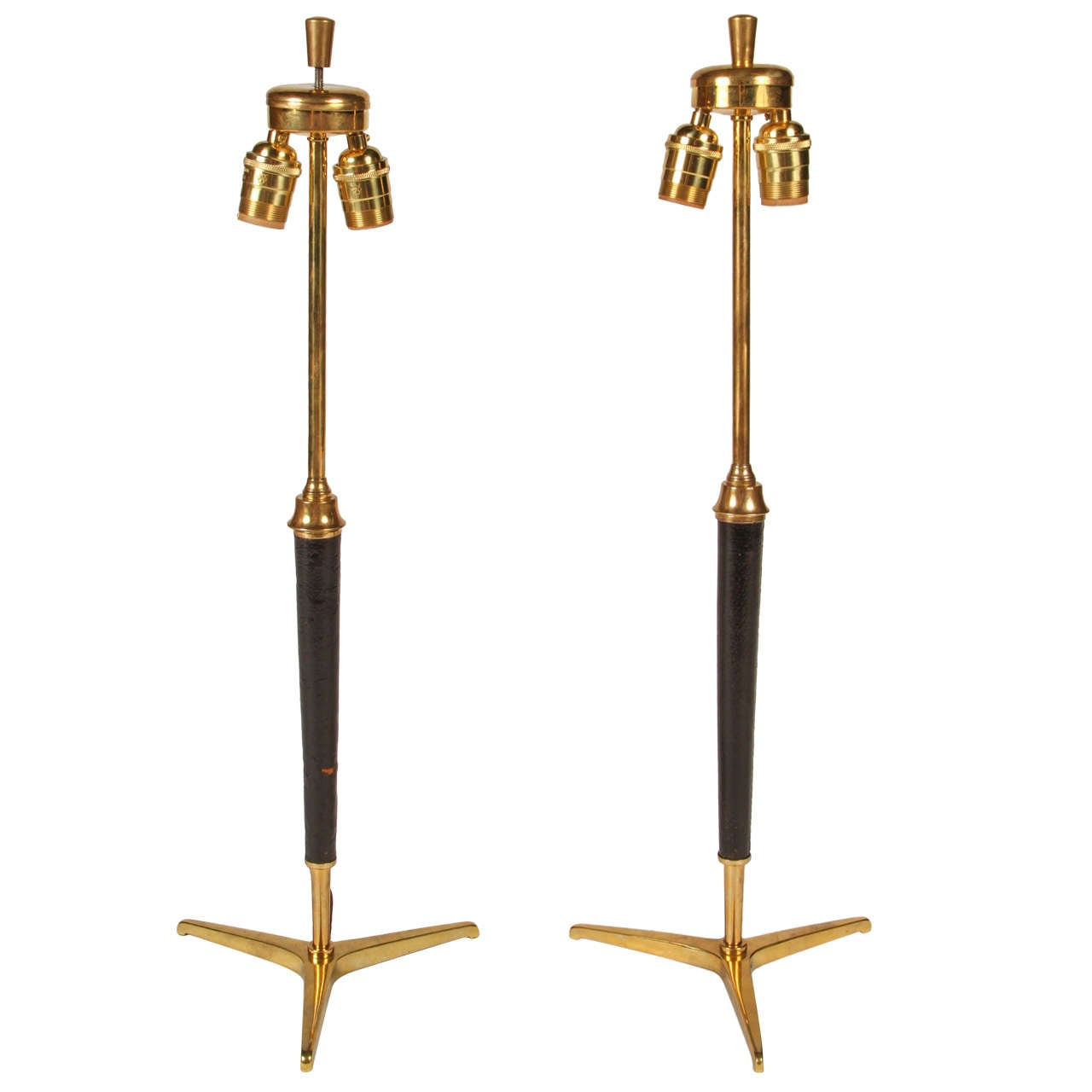 Pair of Jacques Adnet Lamps in Brass and Leather