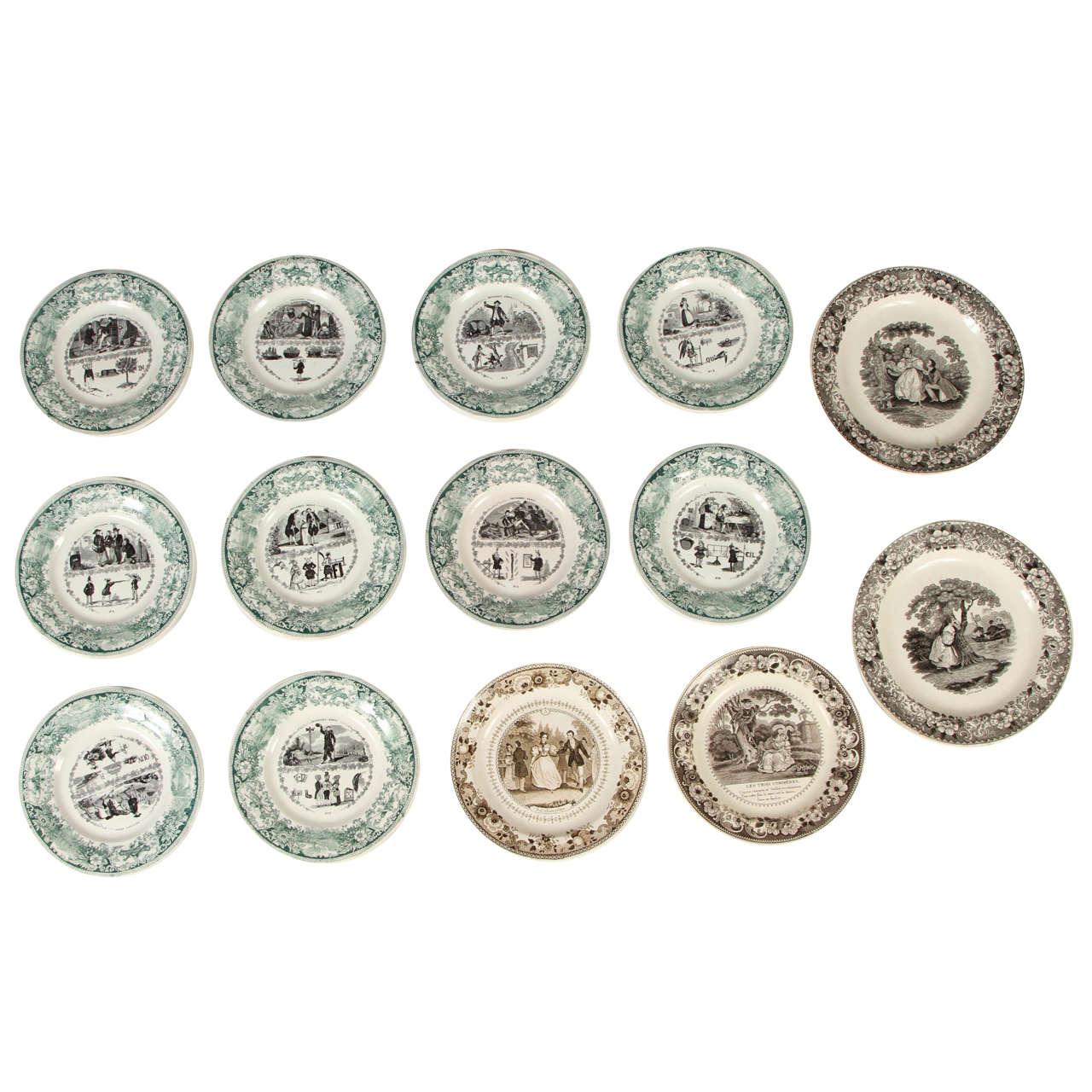19th Century Faience Porcelain Creil et Montereau & Lebeuf Plates