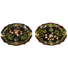 Pair of French Palissy Ware Plates