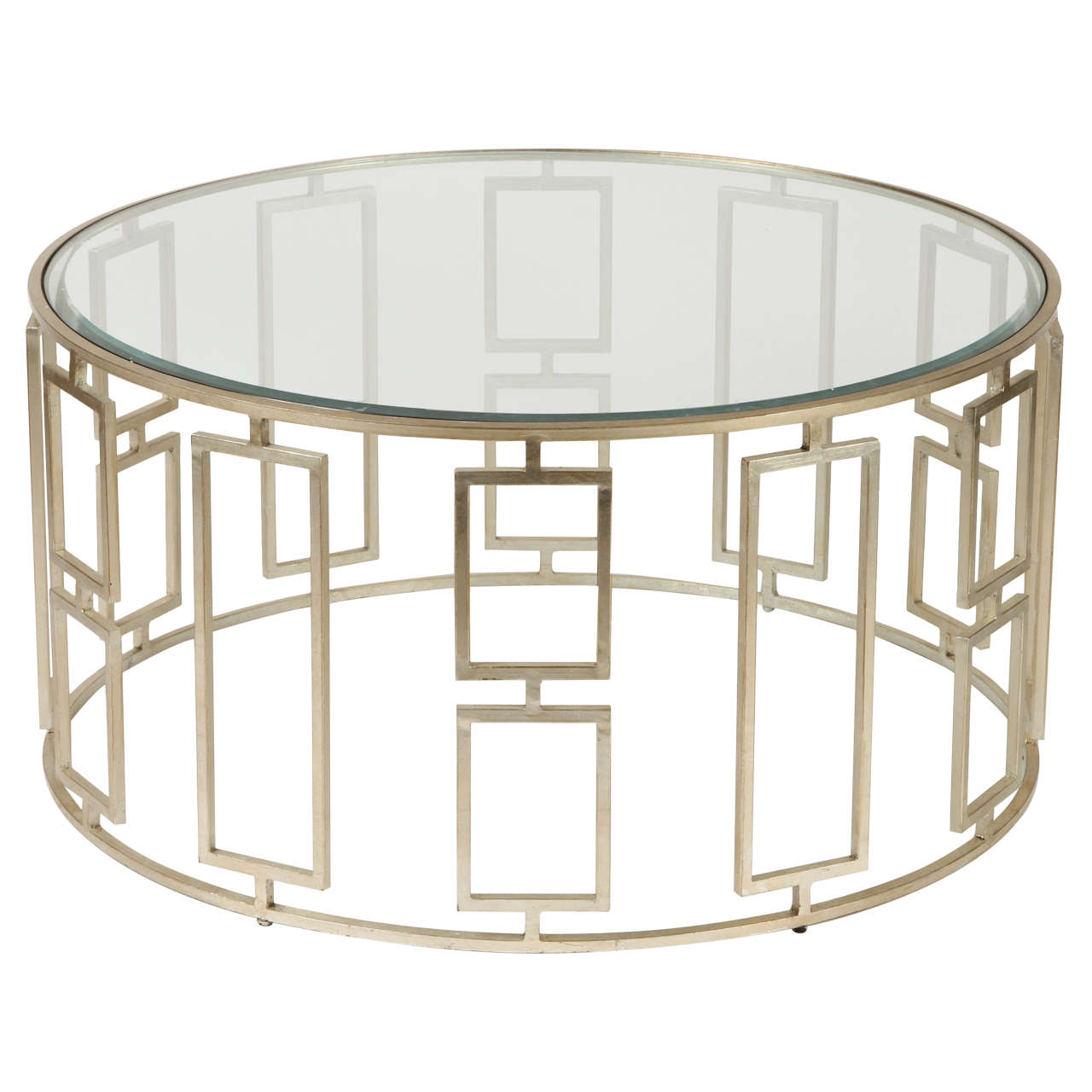 Silver Studded Coffee Table: Contemporary Silver-Leafed Coffee Table For Sale At 1stdibs