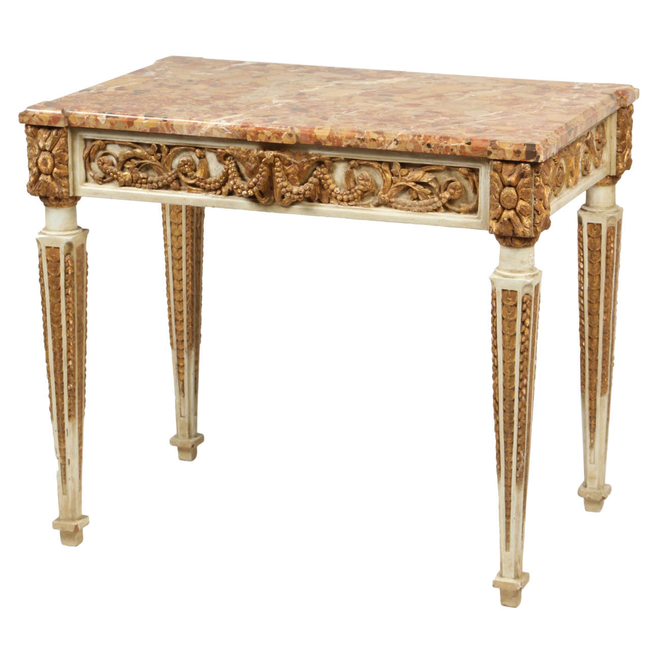 Carved And Gilt Italian Console Table, Late 18th Century For Sale
