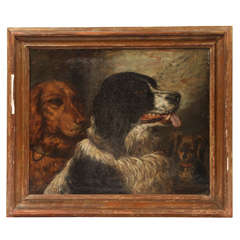 19th Century Painting of Dogs, Oil on Canvas