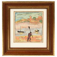 """Painting by Pierre Louis Berjole, """"La pecheur"""""""