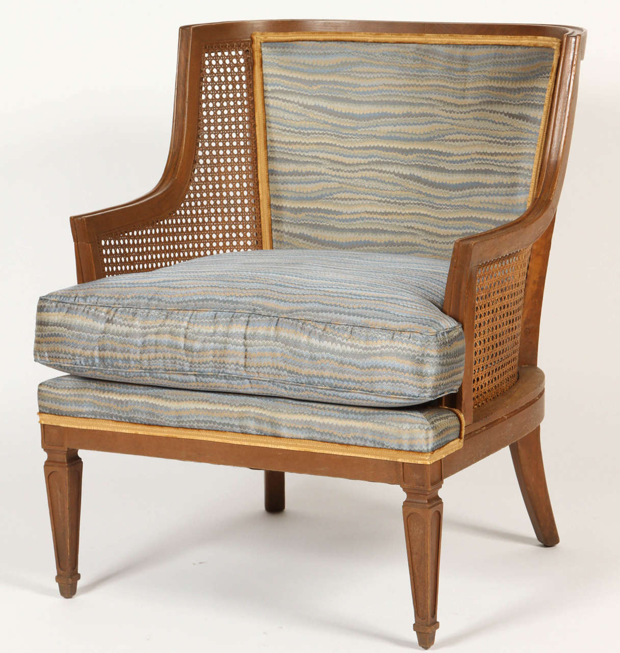 Mid-Century Modern Pair of Caned French 1940s Armchairs For Sale