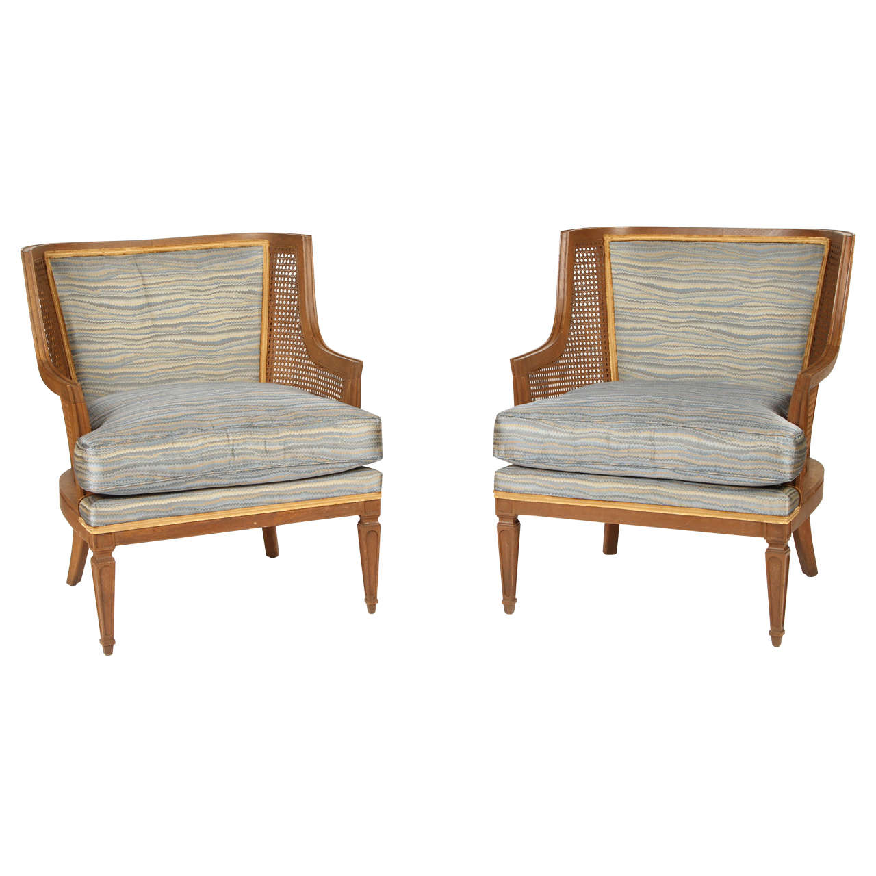 Pair of Caned French 1940s Armchairs For Sale