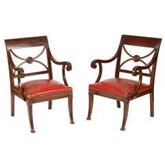 Pair of Regency Mahogany Armchairs