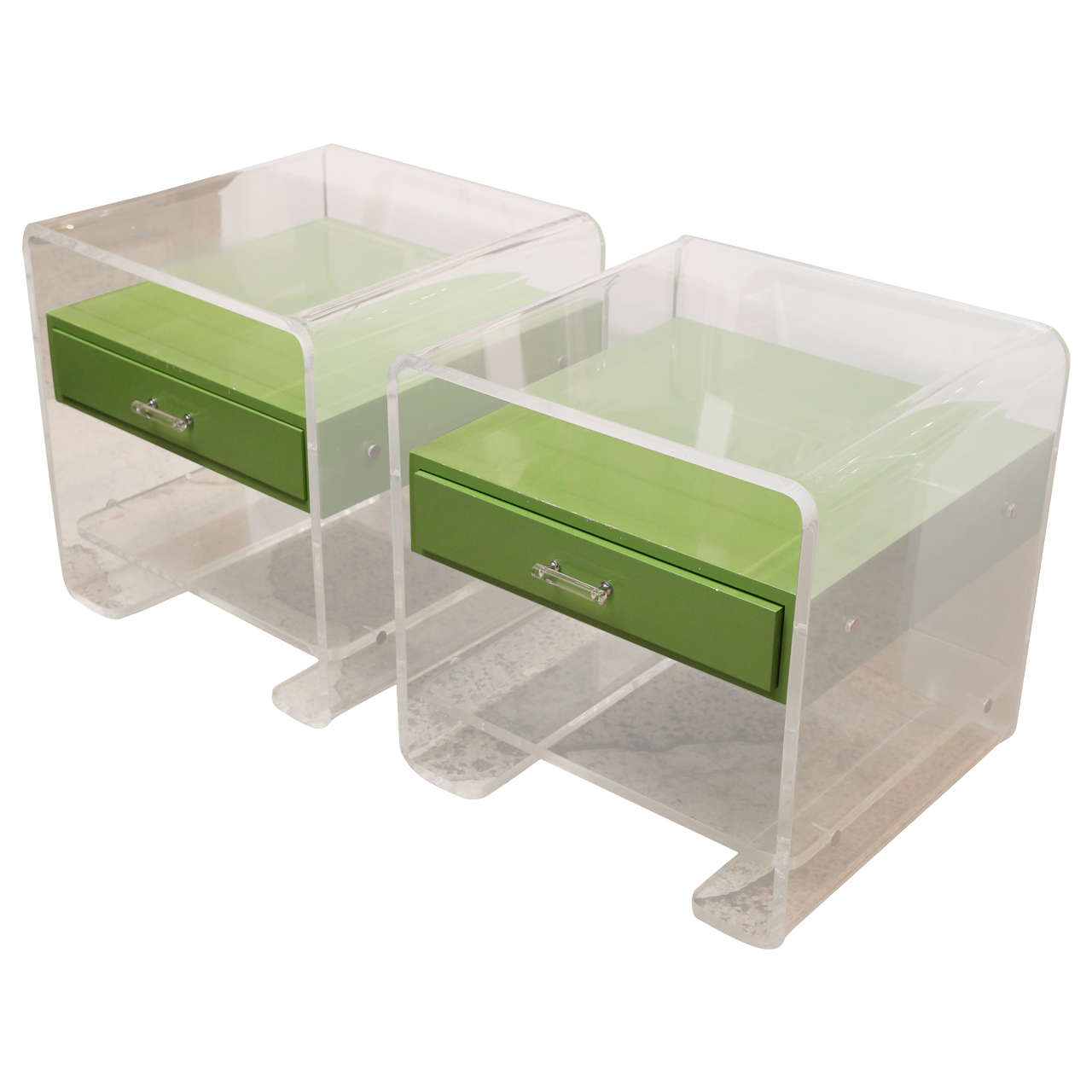 Pair Of Lucite Side Tables For Sale
