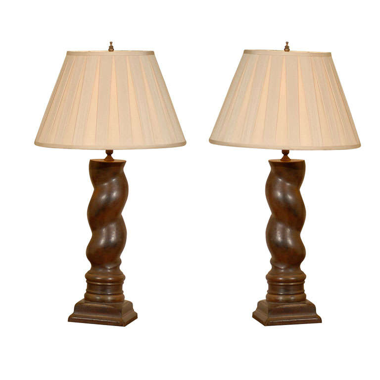 20th Century Pair of Antique Columns made into Lamps