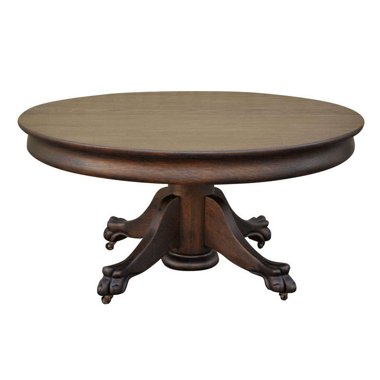 19th century black painted pedestal claw foot coffee table at 1stdibs Painted coffee table