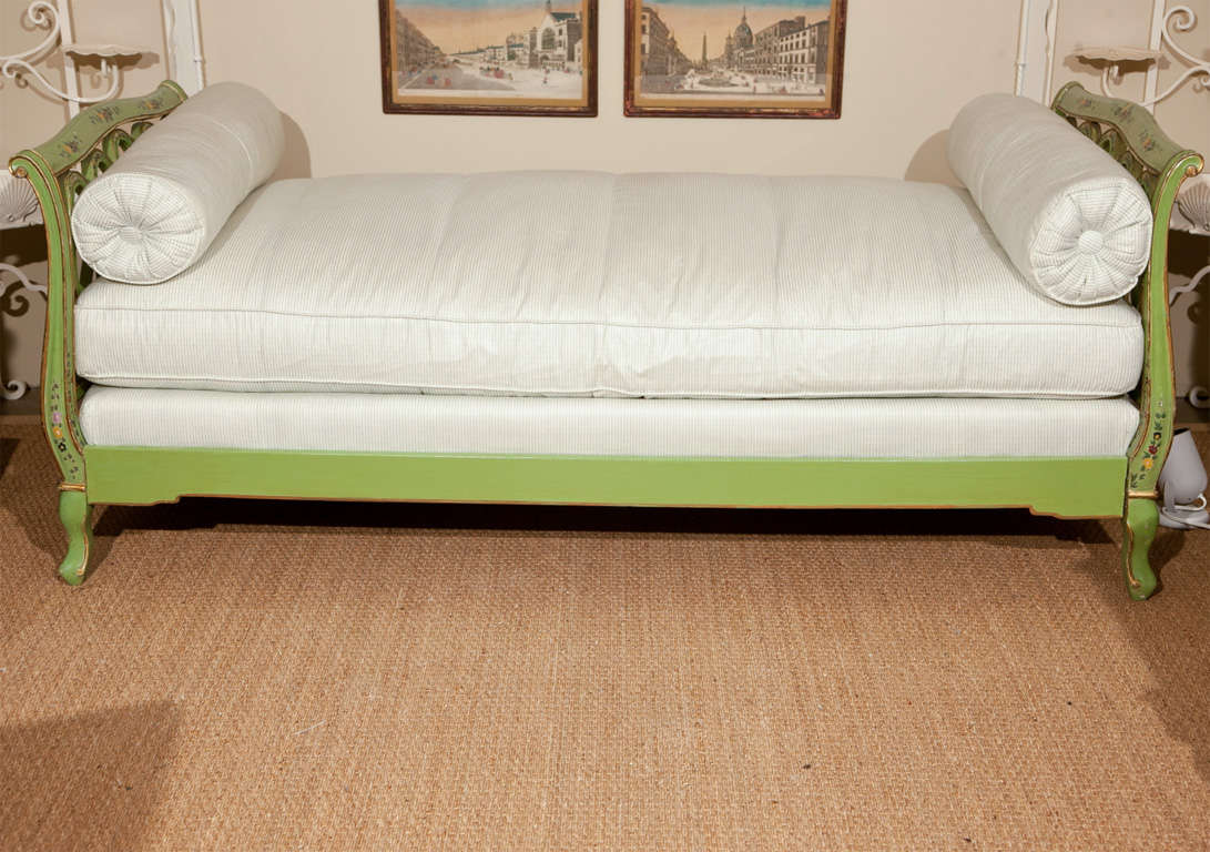 Painted Italian Style Daybed with custom upholstery in vintage Brunswig & Fils fabric