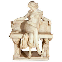 Signed P.E. Fiaschi Marble Figure on Bench