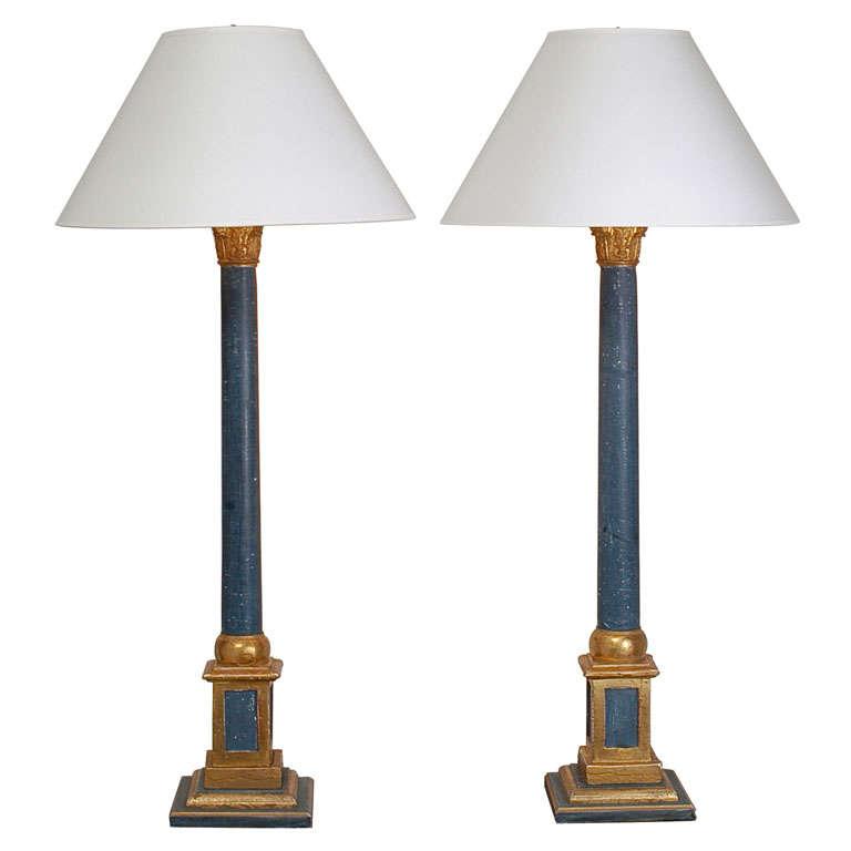 Corintian Column Table Lamps