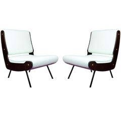 Rare pair of Low Lounge Chairs by Ginafrance Frattini.