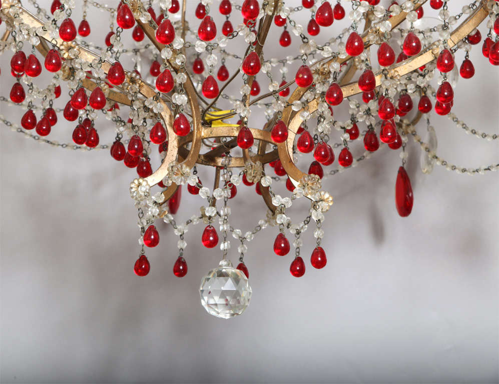 Eight Arm Italian Chandelier with Ruby Red Crystals at 1stdibs