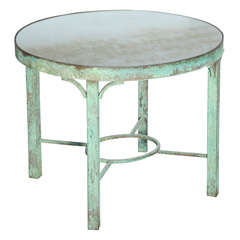 Oval Bronze Table with Distressed Mirrored Top