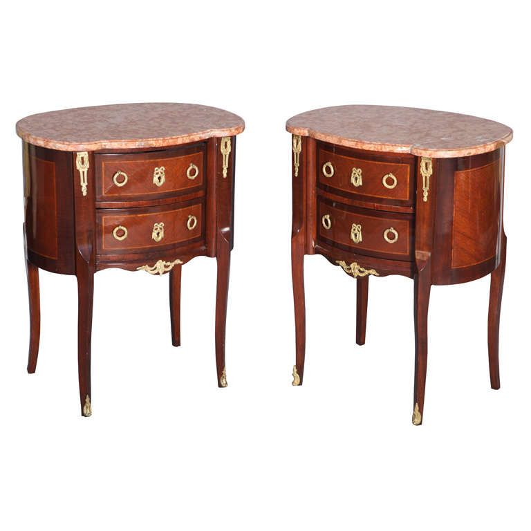 Pair of Inlaid Louis XVI Commodes with Ormolu and Marble Tops