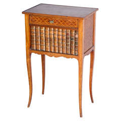 Inlaid 19c. False-front Book Cabinet/End Table