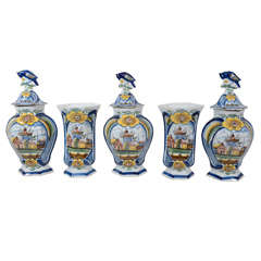 Dutch Delft Garniture of Five Vases Painted in Cobalt Blue Yellow and Green
