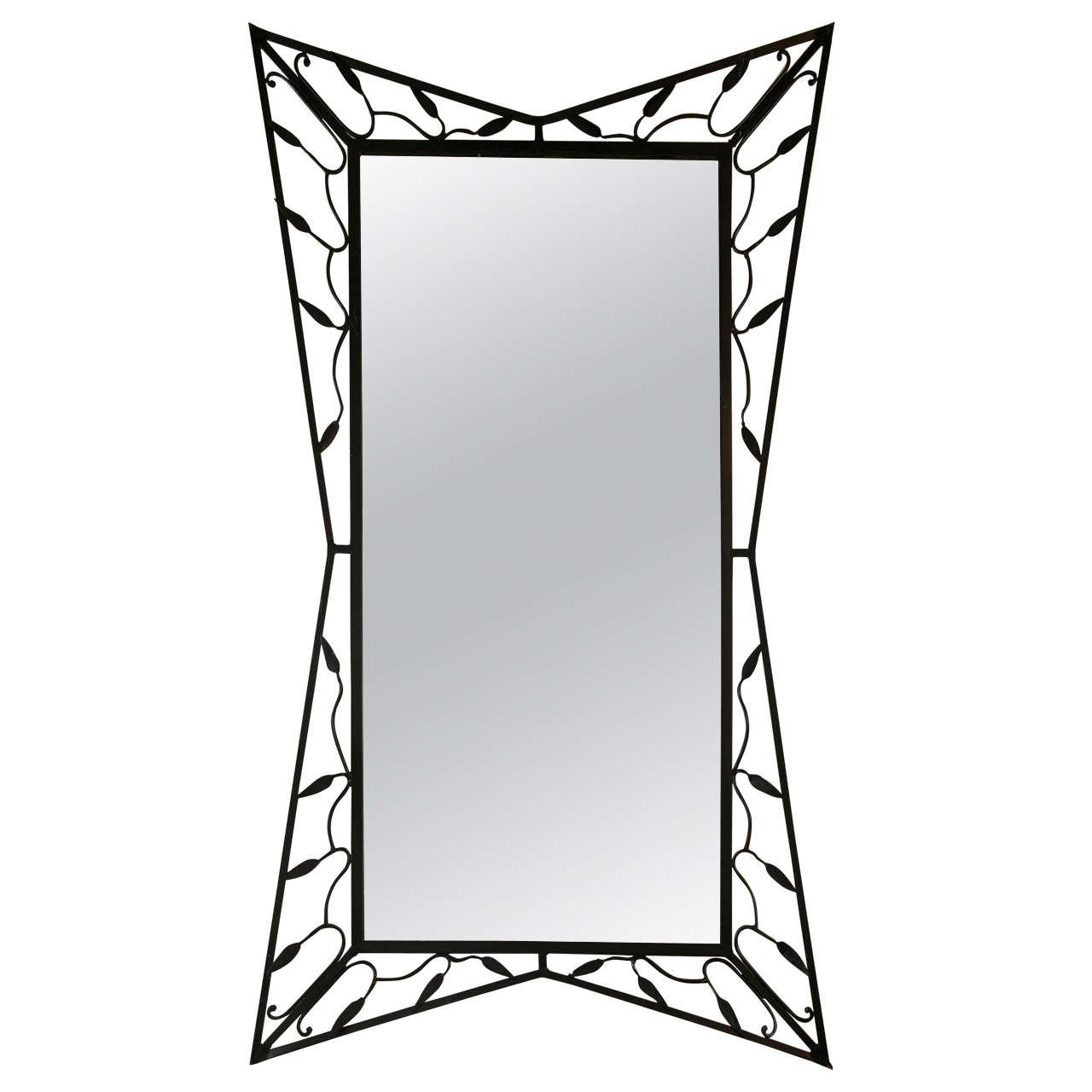 1950 39 s wrought iron mirror at 1stdibs for Wrought iron mirror
