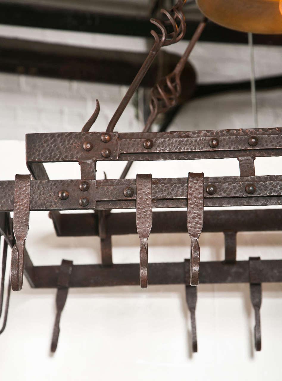 Wrought Iron Pot Hanging Pot Rack With Center Light At 1stdibs