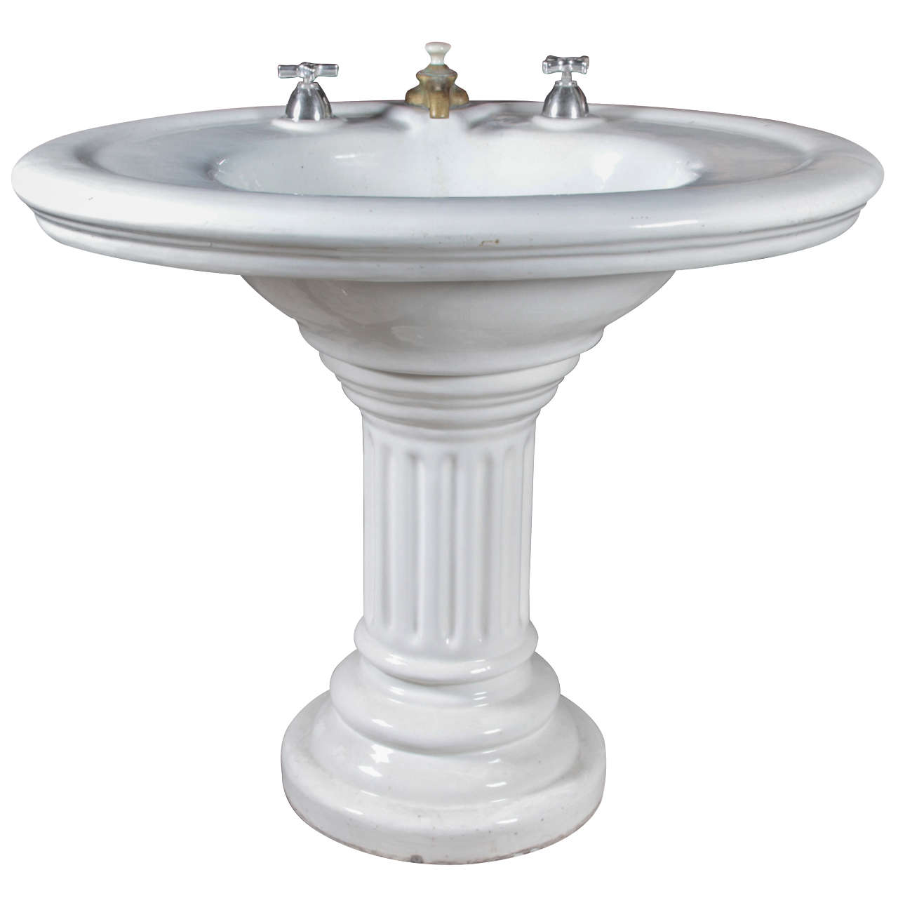 Wide Base Pedestal Sink : Oval Earthenware Sink from the 1800s at 1stdibs