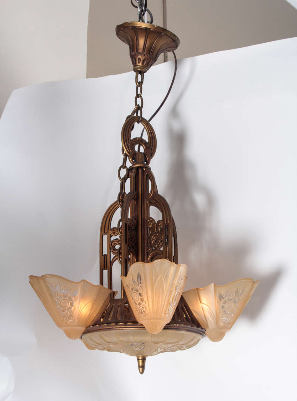A Waterfall 1930s Art Deco Five Lamp Pendant Light With Amber Slip Shades This Can