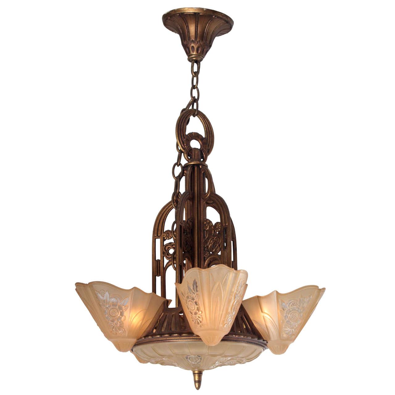 1930s art deco pendant light with amber slip shades at 1stdibs 1930s art deco pendant light with amber slip shades for sale arubaitofo Choice Image